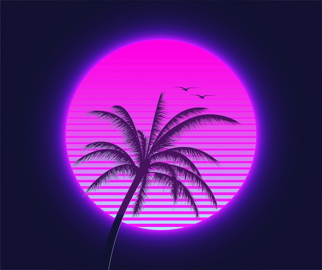 Retrowave sunset with palm silhouette and flying birds in the foreground. summer time themed synthwave styled illustration.