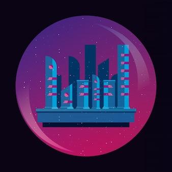 紫色の円と黒い背景の上に都市の建物と再retaveave