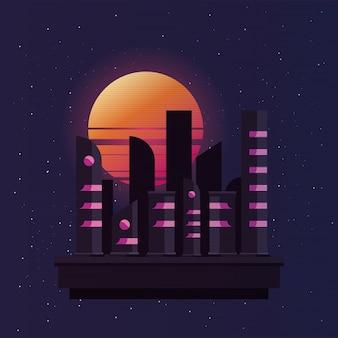 市街地の建物で夕焼けと再遡上する