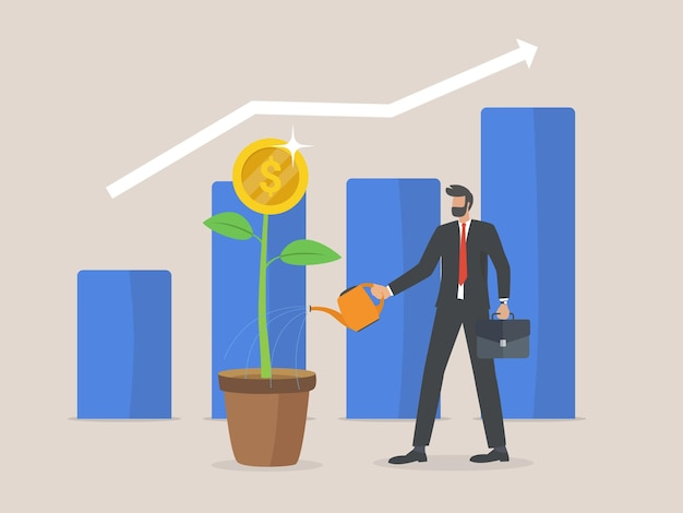 Return on investment concept, businessman and business growth arrows to success. dollar plant coins and graph. chart increase profit. finance stretching rising up.