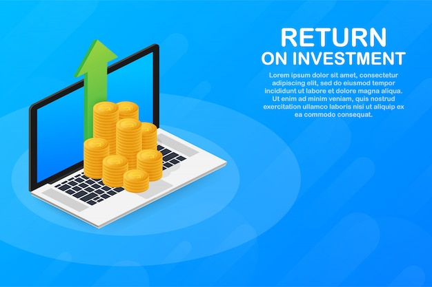 Return on investment concept in isometric design.