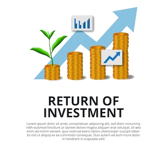 Return of investment growth investing stock market golden coin dollar and plant tree grow arrow success