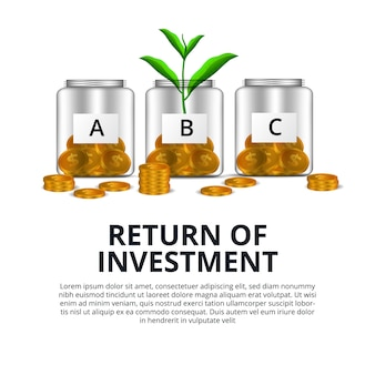 Return of investment growth investing stock market golden coin dollar and plant tree grow in the glass bottle