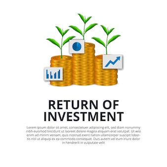 Return of investment growth investing stock market golden coin dollar and plant tree grow