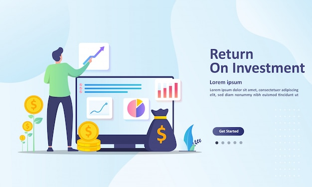 Return on investment, people managing financial chart landing page template