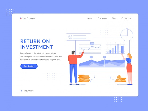 Return on investment. roi analytics, people analyze financial strategy and income growth graphs landing page template flat illustration. generating income web banner, homepage design