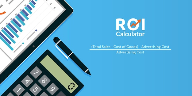 Return on investment roi calculator concept illustration.