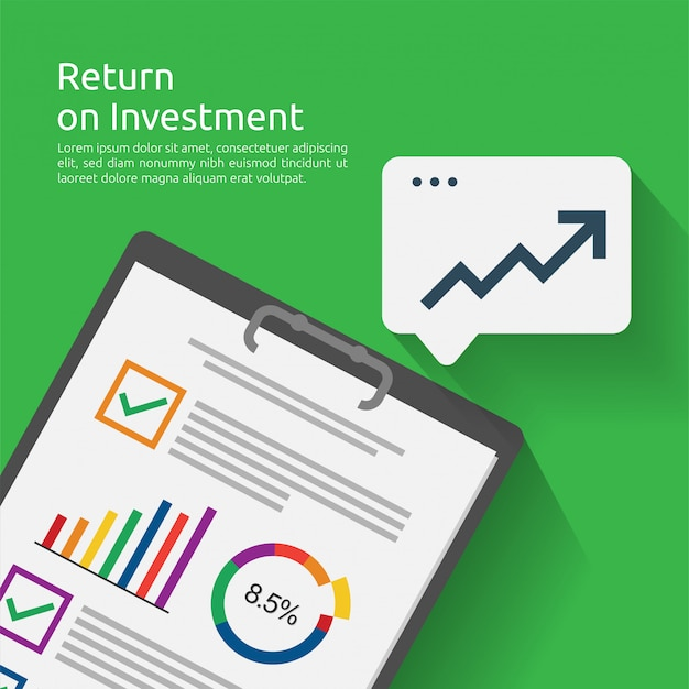 Return on investment roi concept. business document report with growth arrows to success. chart increase profit. finance stretching rising up.