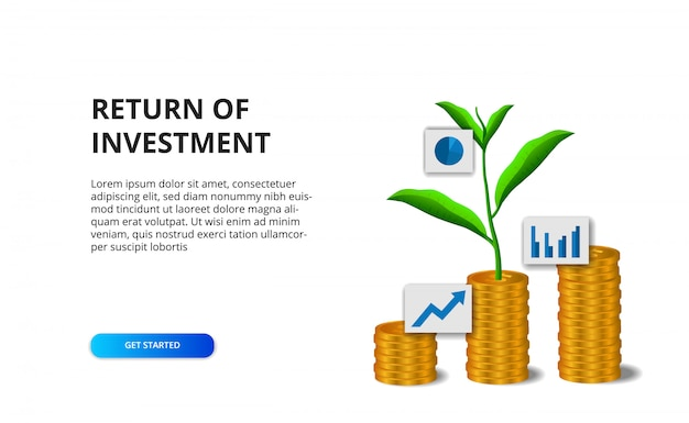 Return of investment roi concept with illustration of golden coin and plant tree leaves growth