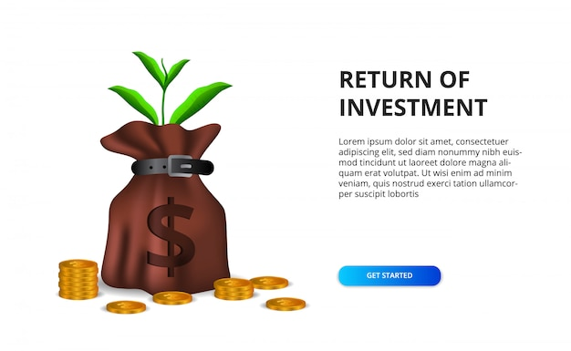 Return of investment roi concept with illustration of money bag with full 3d dollar golden coin and plant leaves side view