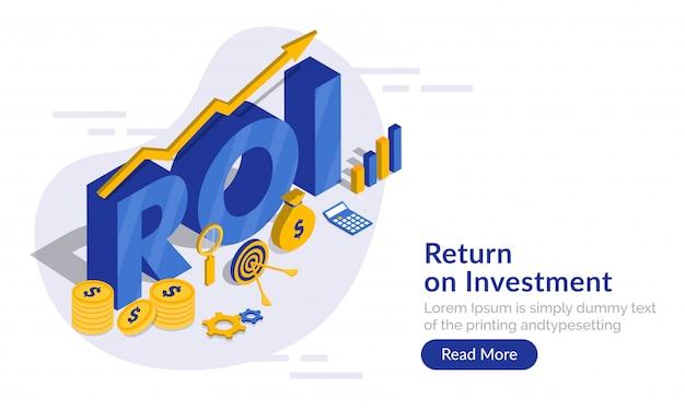 Return on investment (roi) concept.