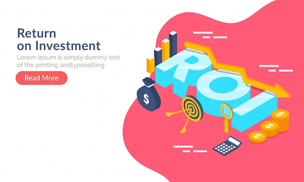Return on investment (roi) concept.