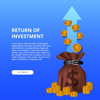 Return of investment roi illustration concept with money bag and golden coin