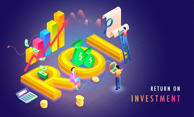 Return on investment (roi) isometric background.