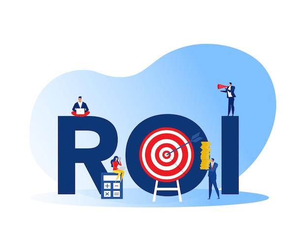 Return on investment, roi, market and finance growth marketing profit