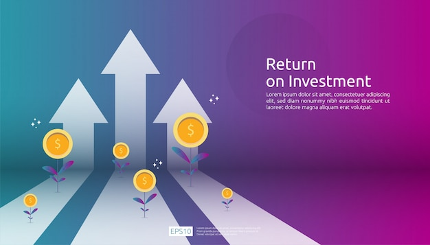 Return on investment roi, profit opportunity concept. business growth arrows to success. arrow with dollar plant coins, graph and chart increase.