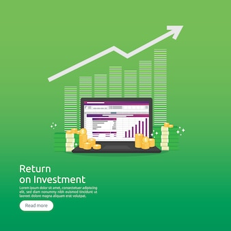 Return on investment roi and seo data analytic concept