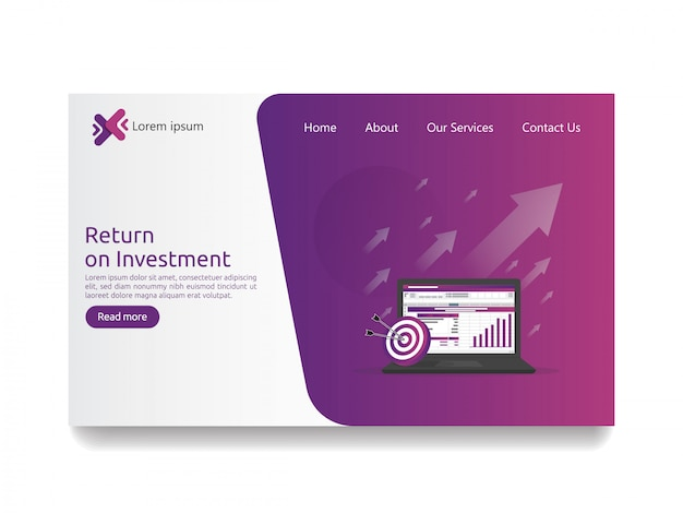 Return on investment roi and seo data analytic landing page