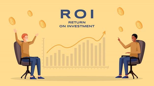 Шаблон баннера возврата инвестиций. прибыль и доход, экономика и финансы, бизнес-стратегия и финансовый успех. roi, макет плаката планирования увеличения доходов компании