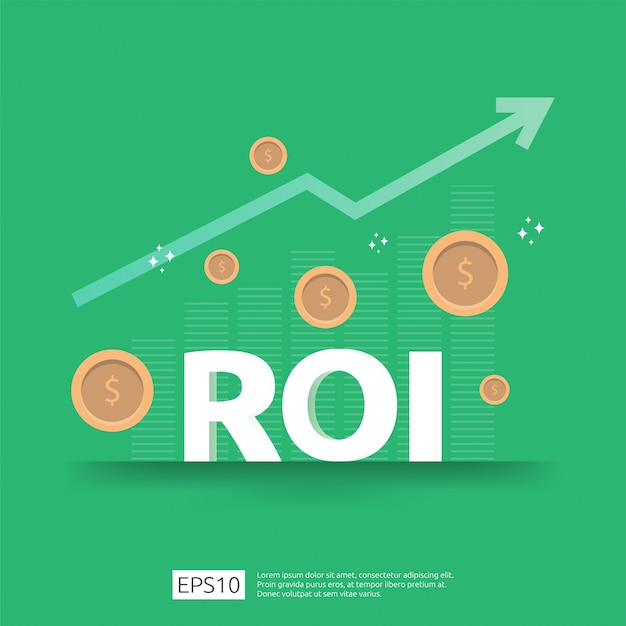 Рентабельность инвестиций. стрелки роста бизнеса к успеху. roi текст с растут монеты доллар растение. график увеличения прибыли. финансы растягиваются растут.