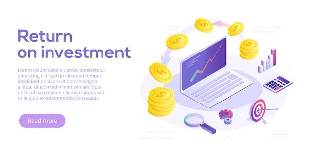 Концепция возврата инвестиций в изометрический дизайн. фон бизнес-маркетинга roi. веб-баннер стратегии прибыли или финансового дохода.