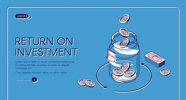 Рентабельность инвестиций изометрической целевой страницы шаблона