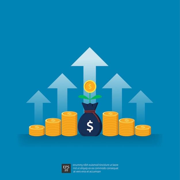 성공 개념에 대한 비즈니스 성장 화살표의 투자 수익. 벡터 일러스트 레이 션을 증가 재무 성과입니다.