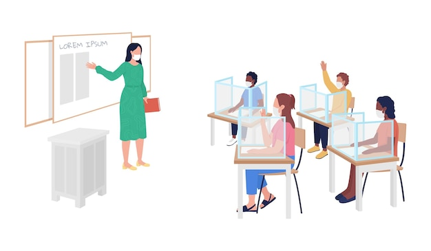 Return to school after pandemic semi flat color vector character