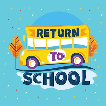 Return to school phrase, school bus go to road school, back to school illustration