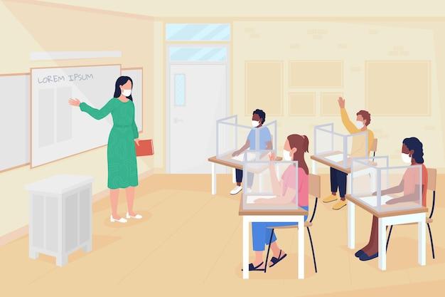 コロナウイルスフラットカラーベクトルイラストの後に学校のレッスンに戻ります。感染予防策。背景に教室のインテリアと女教師と生徒の2d漫画のキャラクター