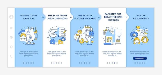 Вернуть к работе шаблон вектора адаптации прав сотрудников. адаптивный мобильный сайт с иконками. веб-страница прохождение 5 экранов шагов. вернитесь к той же цветовой концепции рабочего места с линейными иллюстрациями