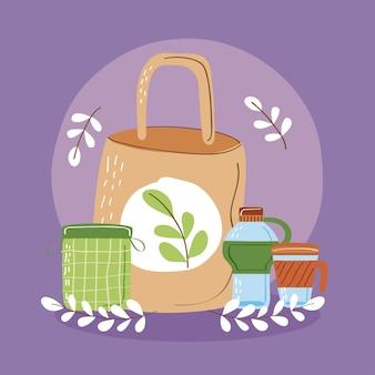 용기가 있는 재사용 가능한 가방