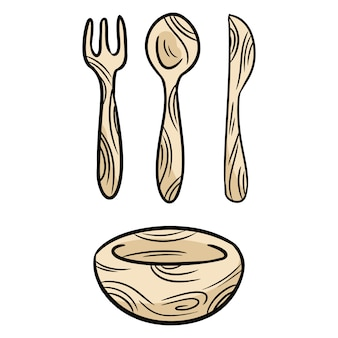 Reusable bamboo kithcenware set of doodles.
