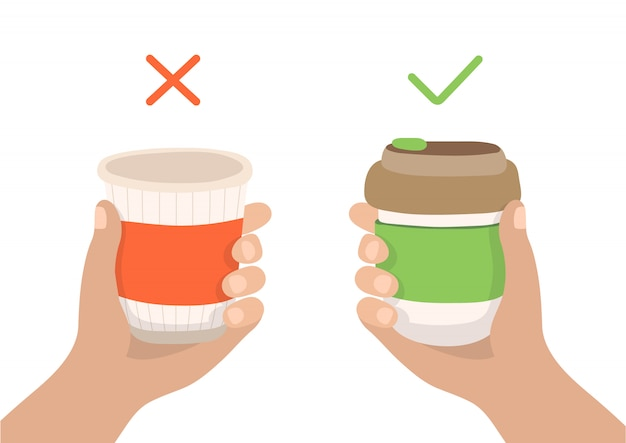 Reusable coffee cup and disposable cup - zero waste concept illustration