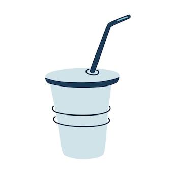 金属管付きの再利用可能なカップ。コーヒーやお茶を飲みに。ゼロウェイスト。白い背景で隔離のフラット漫画スタイルのベクトルイラスト