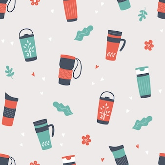 再利用可能なカップ、サーモマグカップ、タンブラーのシームレスなパターンイラスト背景