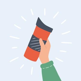 재사용 가능한 컵, 보온 머그, 뚜껑이있는 텀블러로 뜨거운 커피 또는 차를 가져갈 수 있습니다. 손으로 그린 된 개체입니다.