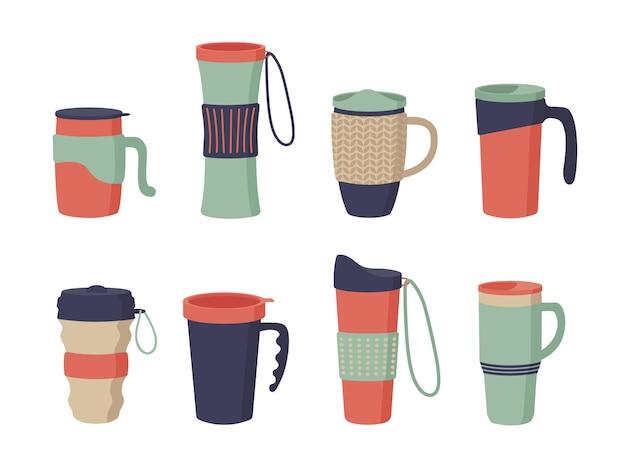 再利用可能なカップ、タンブラー、カバー付きサーモマグ。コーヒーをテイクアウトするための魔法瓶のセット。ゼロウェイスト。白い背景で隔離のフラット漫画スタイルのベクトルイラスト