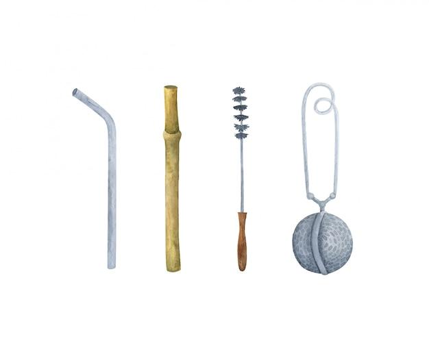 Многоразовая питьевая трубка, бамбук и металл. набор инструментов для питья напитков.