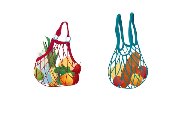 Reusable eco string bag with food. shopping bag made of fabric or cotton. zero waste concept.