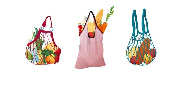 Reusable eco string bag with food