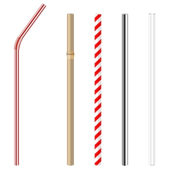 Reusable glass, steel, paper and bamboo drinking straws