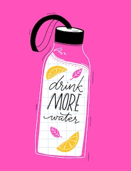 Reusable glass water bottle with handwritten text drink more water cute summer illustration on pink