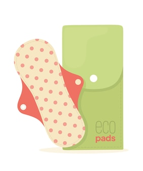 Reusable pad in the case illustration of an ecofriendly product for women