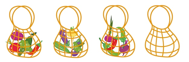 Reusable set of shopping bags with vegetables