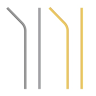 Набор многоразовых стальных, металлических соломинок.