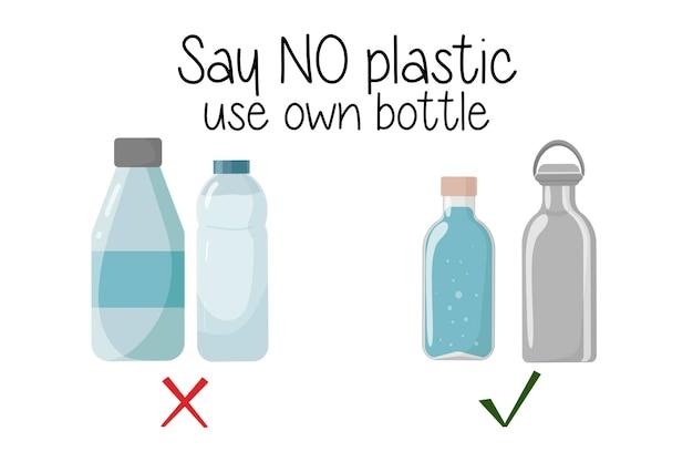 Многоразовые по сравнению с пластиковыми бутылками нет отходов охрана окружающей среды за счет использования натуральных экологически чистых материалов не говорите, что пластик использует вашу бутылку векторная иллюстрация