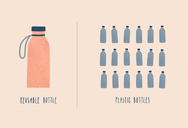 재사용 가능한 물병 대 일회용 병. 제로 폐기물 및 에코 생활 개념