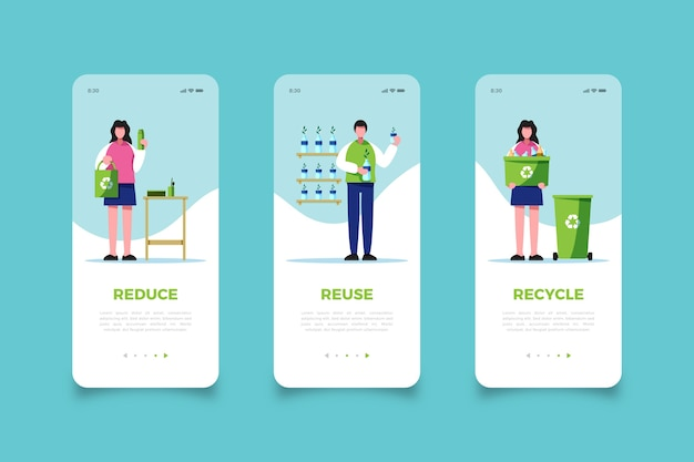 Reuse garbage mobile app screens