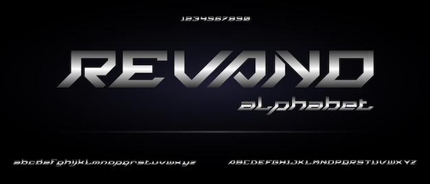 Ревано, спортивный цифровой современный футуристический алфавит с шаблоном городского стиля